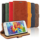 preiswerte Galaxy S Serie Hüllen / Cover-Hülle Für Samsung Galaxy Samsung Galaxy Hülle Kreditkartenfächer / mit Halterung / Flipbare Hülle Ganzkörper-Gehäuse Solide PU-Leder für S5 Mini / S4 Mini / S3 Mini