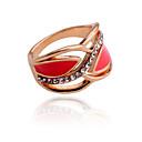 hesapli Yüzükler-Kadın's Bildiri Yüzüğü - Kristal, Gümüş Kaplama, Altın Kaplama Lüks 7 Beyaz / Kırmzı Uyumluluk Parti Günlük / Simüle Elmas