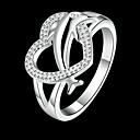 hesapli Yüzükler-Kadın's Bildiri Yüzüğü - Bakır, Yapay Elmas, Gümüş Kaplama Yunus, Kalp, Hayvan Klasik 8 Gümüş Uyumluluk Günlük