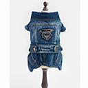 abordables Colliers, Harnais & Laisses pour Chien-Chien Combinaison-pantalon Vestes en Jean Vêtements pour Chien Jeans Bleu Coton Costume Pour les animaux domestiques Homme Femme cow-boy