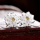 hesapli Küpeler-Kadın's Vidali Küpeler - Som Gümüş, Gümüş Çiçek Doğumtaşları Altın / Gümüş Uyumluluk Düğün Parti Günlük