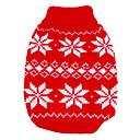 hesapli Köpek Giyim ve Aksesuarları-Köpek Kazaklar Köpek Giyimi Kar Tanesi Kırmzı / Mavi Yün Kostüm Evcil hayvanlar için Erkek / Kadın's Sıcak Tutma / Noel / Yeni Yıl'ınkiler