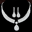 ieftine Seturi de Bijuterii-Pentru femei Transparent Diamant sintetic Seturi de bijuterii Cercei Picătură Coliere cu Pandativ Picătură Lacrimă femei Lux Elegant de Mireasă Ștras cercei Bijuterii Pentru Nuntă Petrecere
