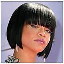 hesapli Makyaj ve Tırnak Bakımı-Sentetik Peruklar Düz Bob Saç Kesimi / Bantlı Sentetik Saç Siyah Peruk Kadın's Şort Bonesiz Siyah hairjoy