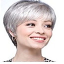 Buy Fashion Grey White Wig Short Straight Woman's Synthetic Wigs Hair Full Daily
