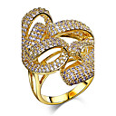 Buy Women's Band Rings AAA Cubic Zirconia Fashion Luxury Zircon Copper Platinum Plated Gold Round Jewelry ForWedding