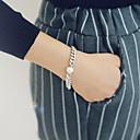 hesapli Küpeler-Kadın's İnci Zincir & Halka Bileklikler Silver Bracelets - İnci Vintage Bilezikler Gümüş Uyumluluk Günlük