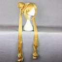 hesapli Makyaj ve Tırnak Bakımı-Sentetik Peruklar / Kostüm Perukları Dalgalı Sarışın Bantlı / At kuyruğu ile Sentetik Saç Isı Dirençli Sarışın Peruk Kadın's Çok uzun Bonesiz Sarışın