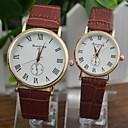 ieftine Ceasuri de Cupluri-Pentru cupluri Ceas La Modă Ceas Elegant Quartz potrivire Și ea Piele PU Matlasată Negru / Alb / Maro Ceas Casual Analog Alb Negru Maro