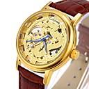 hesapli Erkek Saatleri-CAGARNY Erkek Moda Saat İskelet Saat Bilek Saati Otomatik kendi hareketli Derin Oyma Havalı Gerçek Deri Bant Analog Lüks Vintage Günlük Siyah / Kahverengi - Altın Gümüş