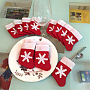 hesapli Ev Dekore Etme-12 adet yılbaşı çorap noel kar taneleri çorap sofra setleri noel bıçak ve çatal çanta