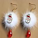 hesapli Küpeler-avrupa ve amerikan moda Noel Baba erik açık kahverengi beyaz ponpon kırmızı kristal yılbaşı küpe aksesuarları