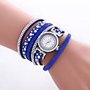 cheap Women's Watches-Women's Quartz Wrist Watch Bracelet Watch Colorful PU Band Heart shape Vintage Casual Bohemian Fashion Cool Bangle Black White Blue Red