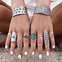 ieftine Inele-Pentru femei Turcoaz Geometric Inel Turcoaz Aliaj Floare femei Personalizat Neobijnuit Design Unic Vintage Boem Inele la Modă Bijuterii Argintiu Pentru Petrecere Zilnic Casual 7