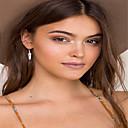 hesapli Küpeler-Kadın's Damla Küpeler - Leaf Shape Moda Altın / Gümüş Uyumluluk Parti Günlük
