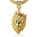 ieftine Conectori-Bărbați Zirconiu Cubic Coliere cu Pandativ Gravat lanțul franco Leu King Coroane Personalizat Rock Hip-Hop Dubai 18K Placat cu Aur Aur Alb Diamante Artificiale Auriu Coliere Bijuterii 1 buc Pentru