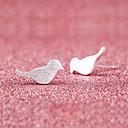 hesapli Küpeler-Vidali Küpeler - Gümüş Kaplama Kuş, Hayvan sevimli Stil Gümüş Uyumluluk Düğün / Parti / Günlük