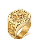 hesapli Yüzükler-Erkek Bildiri Yüzüğü - Altın Kaplama Aşk Kişiselleştirilmiş 9 / 10 / 11 Altın Uyumluluk Düğün / Parti / Yıldönümü