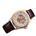 levne Pánské-Pánské Hodinky s lebkou mechanické hodinky Automatické natahování Pravá kůže Hnědá Analogové Bílá Černá