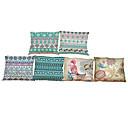 tanie Poduszki-6 szt Bielizna Poszewka na poduszkę Pokrywa Pillow, Jendolity kolor Geometryczny Textured Styl plażowy Wałek Tradycyjny / Classic