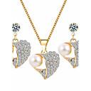 tanie Naszyjniki-Damskie Biżuteria Ustaw - Imitacja pereł, Kryształ górski Serce Podstawowy Zawierać White Na Ślub / Impreza / Specjalne okazje