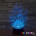 tanie Nowe światła LED-1szt 7color zmienić 3d lampka nocna lampa LED millennium falcon oświetlenie LED do domu wystrój lampa stołowa nightlight dla