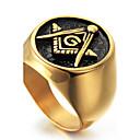 hesapli Erkek Saatleri-Erkek Geometrik Bildiri Yüzüğü / Yüzük - Titanyum Çelik Kişiselleştirilmiş, Punk, Rock Yıldızı 8 / 9 / 10 Altın Uyumluluk Yılbaşı Hediyeleri / Parti / Özel Anlar