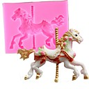 Buy Random Color 3D Carousel Horse Mould Silicone Fondant Cake Molds Kitchen Decorating Baking Tools Candy Clay Gumpaste Chocolate