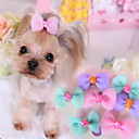 cheap Dog Clothing & Accessories-Dog Hair Accessories Dog Clothes Bowknot Purple Blue Pink Cotton Costume For Spring &  Fall Women's Casual / Daily