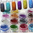cheap Makeup & Nail Care-17bottles set 0 2g bottle fashion gorgeous style colorful shining diy charm pigment decoration nail art laser glitter holographic fine powder jx01 17