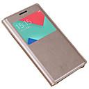 hesapli Alarm ve Güvenlik-Pouzdro Uyumluluk Samsung Galaxy A5(2017) A3(2017) Pencereli Flip Tam Kaplama Kılıf Tek Renk Sert PU Deri için A3 (2017) A5 (2017) A7