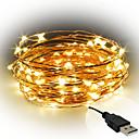 ieftine Fâșii Becurie LED-10m Fâșii de Iluminat 100 LED-uri SMD 0603 Alb Cald / Alb / Roșu Decorativ Alimentat USB 1 buc / IP65