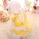 رخيصةأون أزرار أكمام-كلب الفساتين ملابس الكلاب أميرة أصفر زهري فرو مزيج القطن / الكتان كوستيوم من أجل الشتاء الدفء