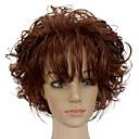 hesapli Sentetik Peruklar-Sentetik Peruklar Bukle Bantlı Sentetik Saç Afrp Amerikan Peruk Kahverengi Peruk Kadın's Şort Bonesiz Bej