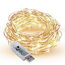 baratos Lâmpada Vela de LED-10m Cordões de Luzes 100 LEDs Branco Quente / Branco / Vermelho <5 V / IP65