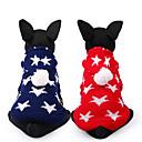 זול חיות מחמד תלבושות חג המולד-כלב סוודרים בגדים לכלבים כוכבים אדום כחול שינלון תחפושות עבור חיות מחמד יום יומי\קז'ואל