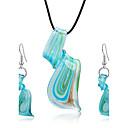 baratos Relógios Femininos-Mulheres Conjunto de jóias - Incluir Brincos Compridos Colares com Pendentes Azul Para Festa Diário