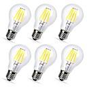 tanie Żarówki filament LED-6szt 4 W 360 lm E26 / E27 Żarówka dekoracyjna LED A60(A19) 4 Koraliki LED COB Dekoracyjna Ciepła biel / Zimna biel 220-240 V / RoHs