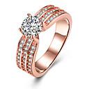 preiswerte Ohrringe-Damen Kristall Bandring / Verlobungsring - Zirkon, Aleación Herz 6 / 7 / 8 Rotgold Für Hochzeit / Party / Geburtstag