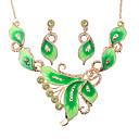 ieftine Seturi de Bijuterii-Pentru femei Seturi de bijuterii Leaf Shape Modă cercei Bijuterii Verde / Albastru / Roz Pentru Petrecere / Cercei