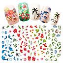abordables Maquillage & Soin des Ongles-1 pcs Autocollant pour ongles Fleur / Décalques pour ongles Nail Art Design Design Tendance Quotidien