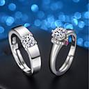hesapli Yüzükler-2pcs Erkek Kadın's Kübik Zirconia Nişan yüzüğü Yüzük Seti - Kübik Zirconia, Gümüş Mücevher Gümüş Uyumluluk Düğün Gece Partisi Ayarlanabilir