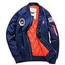 cheap Men's Jackets-Men's Daily / Going out Fall / Winter Regular Jacket, National Flag Stand Long Sleeve Polyester Print Black / Navy Blue / Army Green 4XL / XXXXXL / XXXXXXL