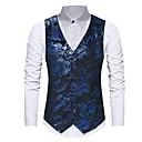 رخيصةأون سترات و بدلات الرجال-رجالي أزرق أسود M L XL Vest لون سادة V رقبة نحيل / بدون كم / الخريف / الشتاء
