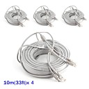 ieftine Sisteme CCTV-Cabluri 4PCS 33ft CCTV RJ45 Video Cable DC Power Extension pentru Securitate sisteme 1000cm 1.23kg