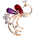 cheap Brooches-Women's Crystal Brooches - Crystal, Imitation Diamond Peacock Classic, Fashion Brooch Red / Champagne For Daily / Formal
