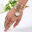 baratos Relógios Femininos-Mulheres Bracele Relógio Quartzo Dourada Relógio Casual Analógico senhoras Rígida - Dourado