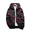cheap Men's Jackets-Men's Daily Ordinary Spring Regular Jacket, Camouflage Hooded Long Sleeve Polyester Blue / Black / Red XXL / XXXL / 4XL