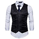cheap Car Headlights-Men's Work Spring / Fall Regular Vest, Solid Colored / Floral Print V Neck Sleeveless Cotton / Polyester Black / Red / Light gray L / XL / XXL / Business Casual