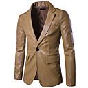 رخيصةأون جواكيت رجالي-رجالي مناسب للبس اليومي الربيع / الشتاء عادية جواكيت جلد, لون سادة قبعة القميص كم طويل PU أسود / أحمر / كاكي